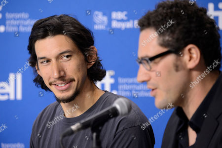 """Adam Driver, left, and Elan Mastai attend the press conference for """"The F Word"""" on day 4 of the Toronto International Film Festival at the TIFF Bell Lightbox, in Toronto"""
