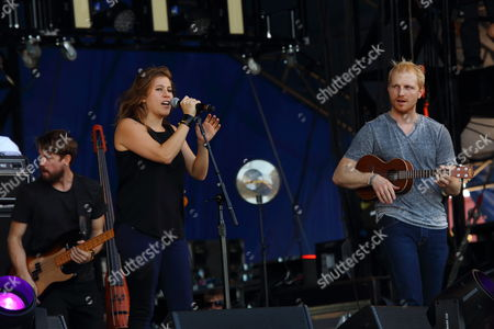 L-R Grant Emerson, Elizabeth Hopkins, Ian Holljes of Delta Rae performs on day 2 of the 2013 Voodoo Music + Arts Experience at City Park on in New Orleans Louisiana