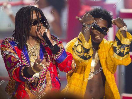 "Quavious ""Quavo"" Marshall and Kiari ""Offset"" Cephus of Migos performs at the 2014 BET Hip Hop Awards held at the Atlanta Civic Center, in Atlanta"
