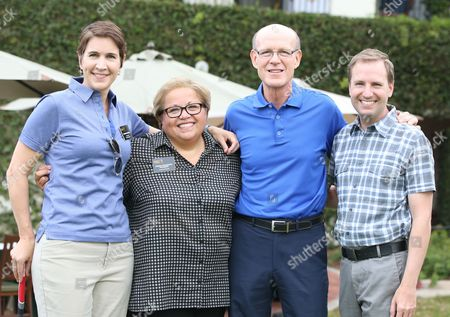 Heather Cochran, and from left, Norma Provencio-Pichardo, Jerry Petry and Maury McIntyre participate in a tournament at the 15th Emmys Golf Classic, presented by the Television Academy Foundation, at the Wilshire Country Club in Los Angeles