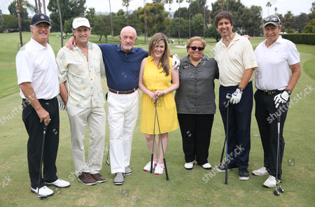 Robert Cook, and from left, Robert Hays, Ray Romano, Jonathan Banks, Karla Kitchel, Norma Provencio-Pichardo, Ray Romano and Tom Arnost attend the 15th Emmys Golf Classic, presented by the Television Academy Foundation, at the Wilshire Country Club in Los Angeles