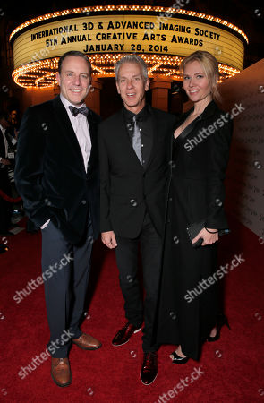 Stock Picture of Kirk DeMicco, Chris Sanders and Jessica Steele attend the 2014 International 3D and Advanced Imaging Society's Creative Arts Awards at the Steven J. Ross Theatre, Warner Bros. Studios on in Burbank, California