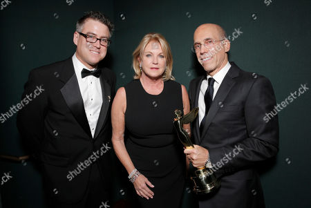 Society Co-Chairman Tom Cosgrove and Suzanne Lloyd present Jeffrey Katzenberg with the Harold Lloyd Filmmaker award at the 2014 International 3D and Advanced Imaging Society's Creative Arts Awards at the Steven J. Ross Theatre, Warner Bros. Studios on in Burbank, California