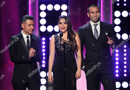 Jorge Bernal, from left, Yarel Ramos and Rafael Amaya speak on stage at the NCLR ALMA Awards at the Pasadena Civic Auditorium, in Pasadena, Calif