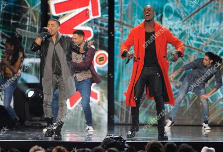"""Nicola """"Nico"""" Sereba and Vincent """"Vinz"""" Dery, of Nico & Vinz, perform during the 2014 Soul Train Awards at Orleans Arena, in Las Vegas"""