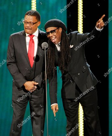Stock Picture of Judge Mathis, left, and Nile Rodgers introduce honorees Kool & The Gang during the 2014 Soul Train Awards at Orleans Arena, in Las Vegas
