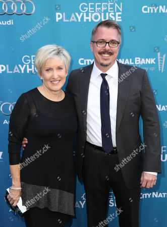 Holly Rice, left, and Vince Gilligan attend Backstage at the Geffen, in Los Angeles