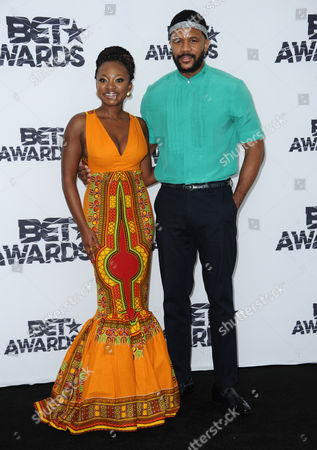 Naturi Naughton, left, and Hosea Chanchez pose in the press room at the BET Awards at the Microsoft Theater, in Los Angeles