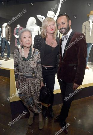 """Mary Rose, from left, Nick Verreos, and Mona May, costume designer of """"Whitney"""" seen at The 9th Annual Outstanding Art of Television Costume Design Exhibition opening at the FIDM Museum & Galleries on the Park, in Los Angeles. The Television Academy and FIDM Museum honored this yearâ?™s Emmy(R) Award winners in Outstanding Costume Design at the opening reception for this annual special exhibition"""