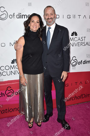 Joi Horowitz, left, and Jimmy Horowitz, president of Universal Pictures, arrive at the March of Dimes Celebration of Babies honoring Jessica Alba at the Beverly Wilshire hotel, in Beverly Hills, Calif