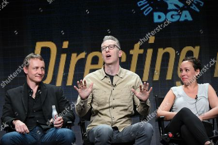 """Writer Alec Berg, from left, directors Michael Blieden and Zetna Fuentes participate in the """"Directing Funny panel at the Directors Guild of America Summer TCA Tour held at the Beverly Hilton Hotel, in Beverly Hills, Calif"""