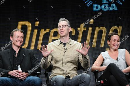 """Writer Alec Berg, from left, directors Michael Blieden and Zetna Fuentes participate in the """"Directing Funnyâ?? panel at the Directors Guild of America Summer TCA Tour held at the Beverly Hilton Hotel, in Beverly Hills, Calif"""