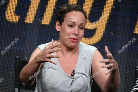 """Stock Image of Director Zetna Fuentes participates in the """"Directing Funnyâ?? panel at the Directors Guild of America Summer TCA Tour held at the Beverly Hilton Hotel on in Beverly Hills, Calif"""