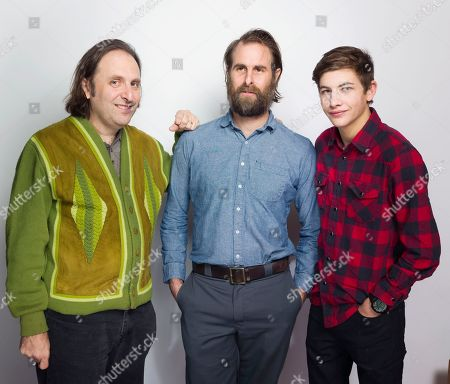 """Gregg Turkington, from left, director/writer Rick Alverson and Tye Sheridan pose for a portrait to promote the film, """"Entertainment"""", at the Eddie Bauer Adventure House during the Sundance Film Festival, in Park City, Utah"""