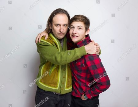 """Gregg Turkington, left, and Tye Sheridan pose for a portrait to promote the film, """"Entertainment"""", at the Eddie Bauer Adventure House during the Sundance Film Festival, in Park City, Utah"""