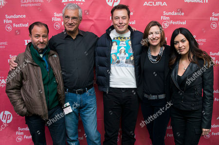 """From left, Fisher Stevens, director Louie Psihoyos, Elon Musk, CEO & Chief Product Architect of Tesla Moters, producer Olivia Ahnemann John Behrens and race car driver Leilani Munter attend the premiere of """"Racing Extinction"""" during the 2015 Sundance Film Festival, in Park City, Utah"""
