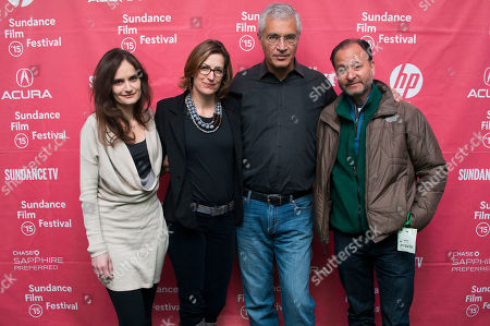 """Co-producer Gina Papabeis, producer Olivia Ahnemann John Behrens, director Louie Psihoyos and Fisher Stevens attend the premiere of """"Racing Extinction"""" during the 2015 Sundance Film Festival, in Park City, Utah"""