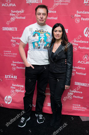 """Elon Musk, CEO & Chief Product Architect of Tesla Moters, and race car driver Leilani Munter attend the premiere of """"Racing Extinction"""" during the 2015 Sundance Film Festival, in Park City, Utah"""