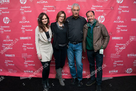"""From left, co-producer Gina Papabeis, producer Olivia Ahnemann John Behrens, director Louie Psihoyos and Fisher Stevens attend the premiere of """"Racing Extinction"""" during the 2015 Sundance Film Festival, in Park City, Utah"""