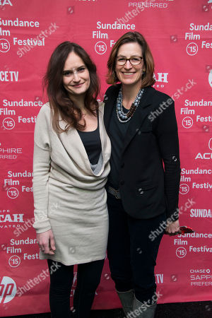 """Co-producer Gina Papabeis and producer Olivia Ahnemann John Behrens attend the premiere of """"Racing Extinction"""" during the 2015 Sundance Film Festival, in Park City, Utah"""