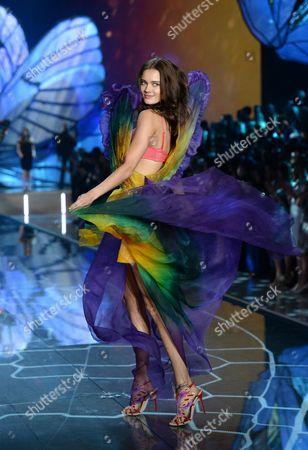 Monika Jagaciak walks the runway during the Victoria's Secret Fashion Show at the Lexington Armory, in New York. The Victoria's Secret Fashion Show will air on CBS on Tuesday, Dec. 8, at 10pm EST