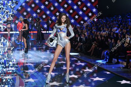 Model Megan Puleri walks the runway during the 2015 Victoria's Secret Fashion Show at the Lexington Armory, in New York. The Victoria Secret Fashion Show will air on CBS on Tuesday, December 8th at 10pm EST