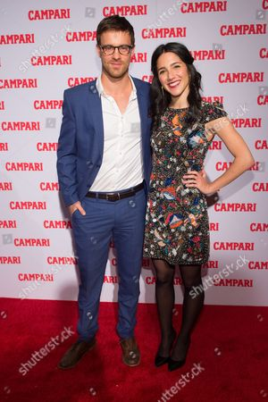 Stock Image of Actors Sean Kleier, left, and Samantha Massell attend the 2016 Campari Calendar unveiling celebration at the Standard Hotel, in New York