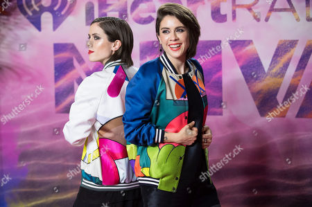 Stock Photo of Sara Keirsten Quin and Tegan Rain Quin of Tegan and Sara pose in the press room at the 2016 iHeartRadio MuchMusic Video Awards, in Toronto, Canada