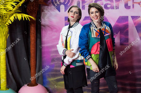 Stock Picture of Sara Keirsten Quin and Tegan Rain Quin of Tegan and Sara pose in the press room at the 2016 iHeartRadio MuchMusic Video Awards, in Toronto, Canada