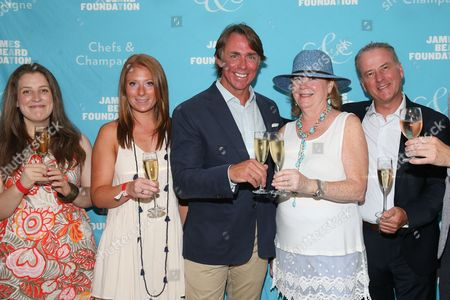 Scholarship winner Evelyn Q. Grant, Christina Cassel, Honoree Chef John Besh, James Beard Foundation President Susan Ungaro, Champagne Barons de Rothschild's Managing Director Frederic Mairesse seen at the James Beard Foundation's Chefs & Champagne fundraiser honoring John Besh, at Wolffer Estate Vineyard in Sagaponack, N.Y