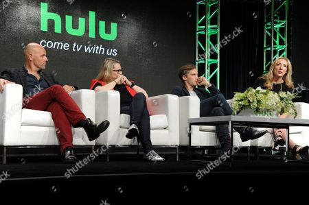 "Peter Carlton, from left, Rae Earl, Jonas Nay and Jessica Pope participate in the ""International Intrigue"" panel during the Hulu Television Critics Association summer press tour, in Beverly Hills, Calif"