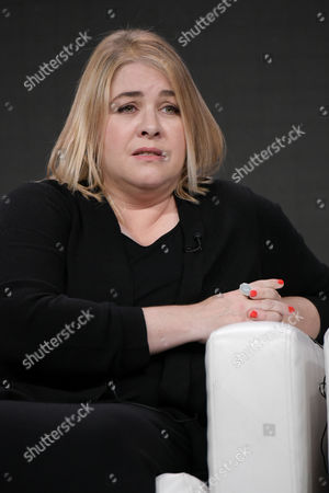 """Stock Image of Alexandra Cunningham participates in the """"Chance"""" panel during the Hulu Television Critics Association summer press tour, in Beverly Hills, Calif"""