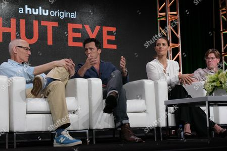 "Stock Image of Les Bohem, from left, Jeffrey Donovan, KaDee Strickland and David Hudgins participate in the ""Shut Eye"" panel during the Hulu Television Critics Association summer press tour, in Beverly Hills, Calif"
