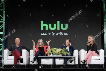 "Peter Carlton, Rae Earl, Jonas Nay and Jessica Pope participate in the ""International Intrigue"" panel during the Hulu Television Critics Association summer press tour, in Beverly Hills, Calif"