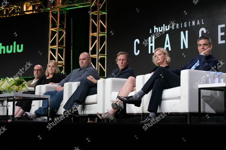 """Kem Nunn, from left, Alexandra Cunningham, Ethan Suplee, Hugh Laurie, Gretchen Mol and Michael London participates in the """"Chance"""" panel during the Hulu Television Critics Association summer press tour, in Beverly Hills, Calif"""