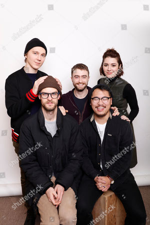 """From back left, Actors Paul Dano, Daniel Radcliffe, and Mary Elizabeth Winstead pose with writer-director's Daniel Scheinert, and Dan Kwan for a portrait to promote the series, """"Swiss Army Man"""", at the Toyota Mirai Music Lodge during the Sundance Film Festival on in Park City, Utah"""