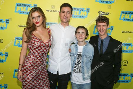 Bella Thorne, Kian Lawley, Anton Starkman and Philip Labes, from left, are seen at the world premiere of 'Shovel Buddies' at the Topfer Theatre during the South by Southwest Film Festival, in Austin, Texas