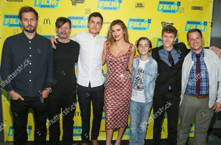 Simon Atkinson, Adam Townley, Kian Lawley, Bella Thorne, Anton Starkman Philip Labes and Jason Hellerman, from left, are seen at the world premiere of 'Shovel Buddies' at the Topfer Theatre during the South by Southwest Film Festival, in Austin, Texas