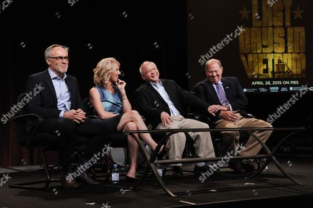 """Stock Image of From left, Mark Samels, Rory Kennedy, Binh Pho, and Stuart Herrington speak on stage during the American Experience """"Last Days in Vietnam"""" panel at the PBS 2015 Winter TCA, in Pasadena, Calif"""
