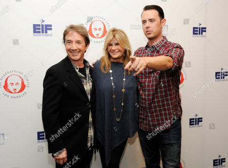 "Cast members Martin Short, left, and Colin Hanks, right, pose with honoree Lisa Paulsen at the 24th annual Simply Shakespeare benefit reading of ""As You Like It,"" at UCLA's Freud Playhouse, in Los Angeles"
