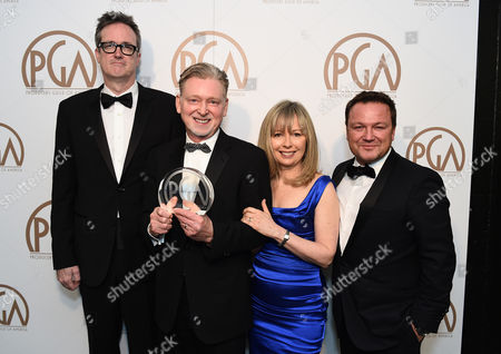 "John Cameron, from left, Warren Littlefield, Kim Todd, and Chad Oakes with the David L. Wolper award for outstanding producer of long-form television for ""Fargo"" at the 26th Annual Producers Guild Awards at the Hyatt Regency Century Plaza, in Los Angeles"