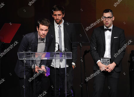 From left, Nate Ruess, Andrew Dost, and Jack Antonoff of the musical group Fun accept the Vanguard Award at the 31st Annual ASCAP Pop Music Awards at the Loews Hollywood Hotel, in Los Angeles
