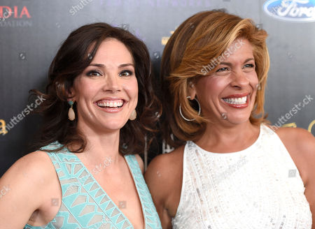 Erica Hill, left, and Hoda Kotb arrive at the 40th Anniversary Gracies Awards at the Beverly Hilton Hotel, in Beverly Hills, Calif