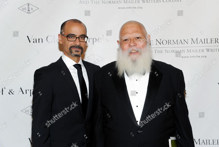 Mailer Prize for Distinguished Writing recipient Junot Diaz, left, and literary critic Samuel R. Delany attend the fifth annual Norman Mailer Center benefit gala at The New York Public Library on in New York