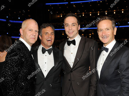 Ryan Murphy, and from left, Mark Ruffalo, Jim Parsons and Dante Di Loreto in the audience at the 66th Primetime Emmy Awards at the Nokia Theatre L.A. Live, in Los Angeles