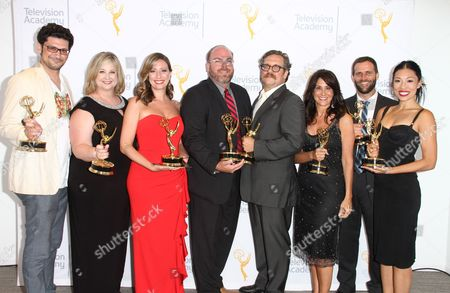 """Stock Picture of EXCLUSIVE - Michelle Merke, Brenda Brkusic, Georg Kallert, Diana Nguyen, Donna Pennestri and team, winners of the Emmy for Entertainment Programming for """"Variety Studio: Actors on Actors - Film Actors"""", pose for a portrait at the L.A. Area Emmy Awards presented at the Television Academy's new Saban Media Center, in the NoHo Arts District in Los Angeles"""