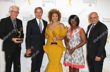Fritz Coleman, winner of the Emmy for Education for El Nino: Currents of Change, from left, Robert Kovacik, Frava Burgess, winners of the Emmy for Culture/History for 50 Watts, and Beverly White pose for a portrait at the L.A. Area Emmy Awards presented at the Television Academy's new Saban Media Center, in the NoHo Arts District in Los Angeles