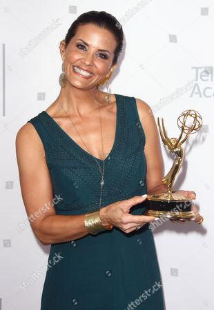 "Lu Parker, winner of the Emmy for Light News Story (Single Report) for ""Homeless Headshots"" poses for a portrait at the L.A. Area Emmy Awards presented at the Television Academy's new Saban Media Center, in the NoHo Arts District in Los Angeles"