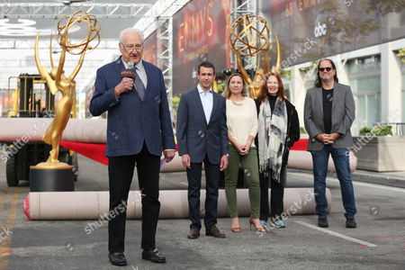 From left, executive producer Don Mischer, executive producer Charlie Haykel, executive producer Juliane Hare, co-producer Danette Herman, and director Glenn Weiss address members of the media at the 68th Primetime Emmy Red Carpet Rollout and Governors Ball Reveal on in Los Angeles
