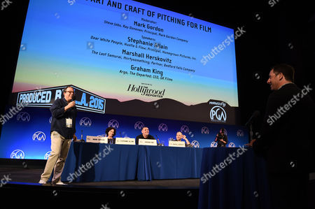 From left, Mark Gordon, Stephanie Allain, Graham King and Marshall Herskovitz hear pitches at the 7th Annual Produced By Conference presented by Producers Guild of America at Paramount Pictures Studios on in Los Angeles